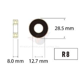 Industrielager R8 2RS, 12,7x28,5x8mm, IBB