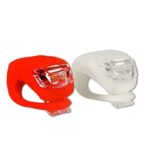 2-LED Silikon Leuchten Set Vorne + hinten, Rot/Weiß