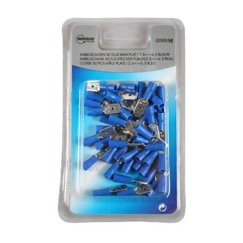 Kabelschuh 50 Stück Packung blau, männlich flach / 2,5 => 6,3mm