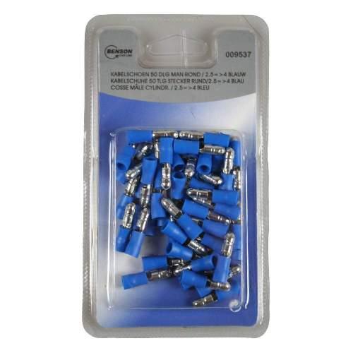 Kabelschuh 50 Stück Packung blau, männlich rund / 2,5 => 4mm