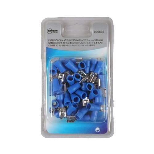 Kabelschuh 50 Stück Packung blau, weiblich flach / 2,5 => 6,3mm